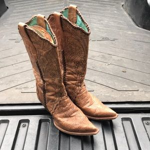 Corral tan braided cowboy boots size 9.5